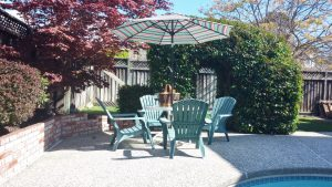 Umbrella with patio table and chairs